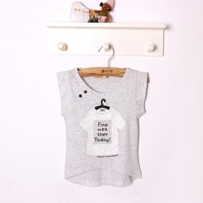 Toddler Irregular Hem Stylish Printed Sleeveless T-shirt