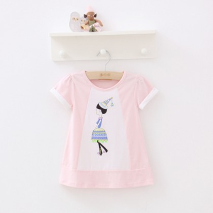 Toddler Printed Short Sleeve Long T-shirt