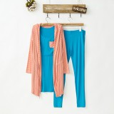 Maternity Nursing 3 Piece Pajamas - Sleeveless Top + Long Pants + Long Sleeve Coat