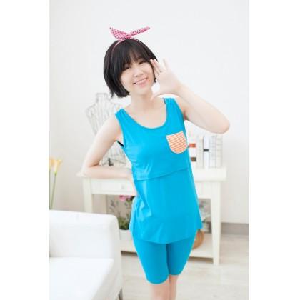 Maternity Nursing 3 Piece Pajamas - Sleeveless Top + Short Pants + Short Sleeve Coat