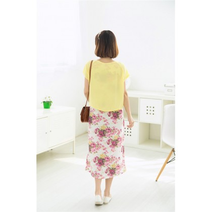 Maternity Nursing 2 Piece Floral Printed Dress - Chiffon Cover with Pocket