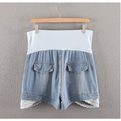 Maternity Short Jeans - Lace Hem - Adjustable Waistband