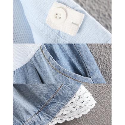Maternity Short Jeans - Lace Hem - Adjustable Waistband