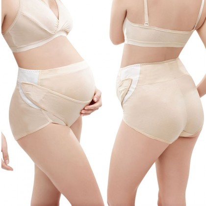 Maternity Supportive Panties - Built-in Hook & Loop Adjustable Support Band / Support Belt