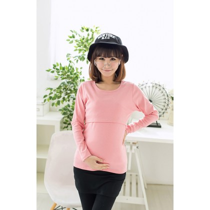 Maternity Nursing Top - Solid Colour - Long Sleeve
