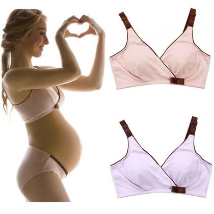 Maternity Nursing Bra - Crossover Bowknot Supportive Wireless Bra (32A-40B)