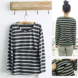 Maternity Nursing Top - Deep Grey Stripes - Long Sleeve