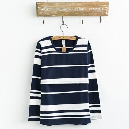 Maternity Nursing Top - Classic Stripes - Long Sleeve