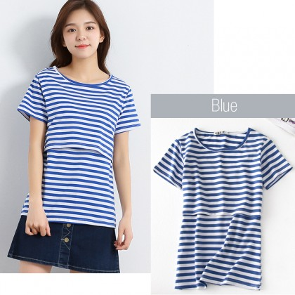Maternity Nursing Top - Classic Stripes - Short Sleeve