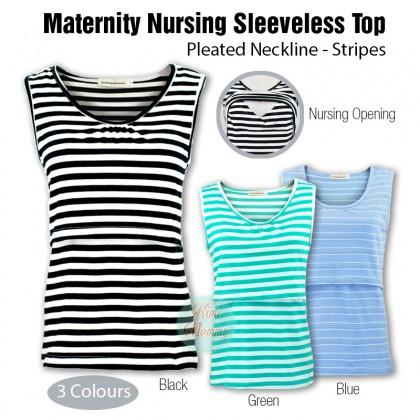 Maternity Nursing Top - Pleated Neckline - Stripes - Sleeveless